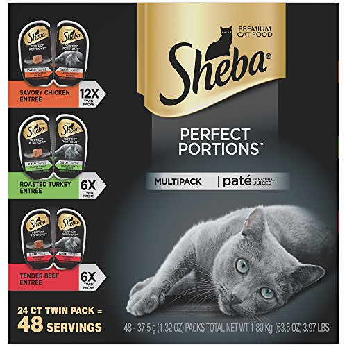- SHEBA PERFECT PORTIONS Paté Multipack Savory Chicken, Roasted Turkey, and Tender Beef Grain Free Cat Food 2.6 Ounces (24 Twin Packs)