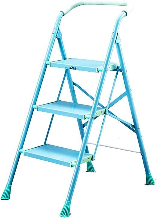 Taburete, estilo europeo simple aleación de aluminio azul y rosa, escalera 3, 4 pasos inicio escalera plegable espiga pedal ancho escalera de ingeniería taburete engrosamiento dos con multifunción: Amazon.es: Hogar