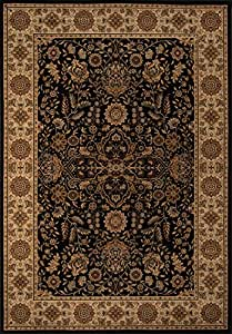 """Momeni Rugs ROYALRY-03BLK3350 Royal Collection, 1 Million Point Power Loomed Traditional Area Rug, 3'3"""" x 5', Black"""