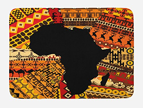 (Lunarable African Bath Mat, Abstract Artistic Style Africa Map on Ethnic Carpet Background Illustration, Plush Bathroom Decor Mat with Non Slip Backing, 29.5 W X 17.5 W Inches, Black and Orange)