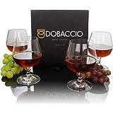Brandy Glasses,4 只装,Cognac Snifers,水晶透明珊瑚色饮用杯