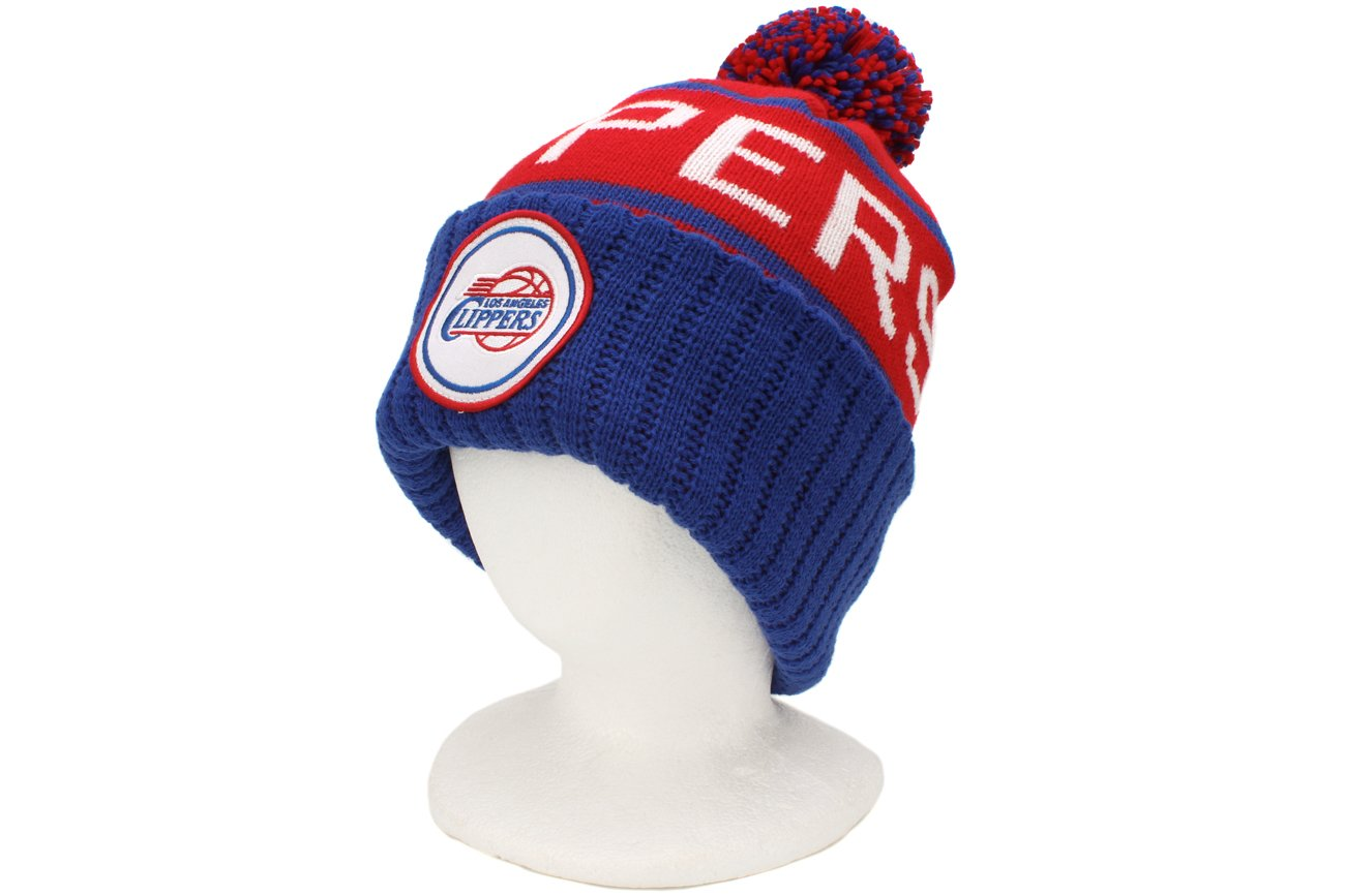Mitchell & NessチームカラーCuffed Knit Pom Hat One Size Los Angeles Clippers B00GPU8TOS