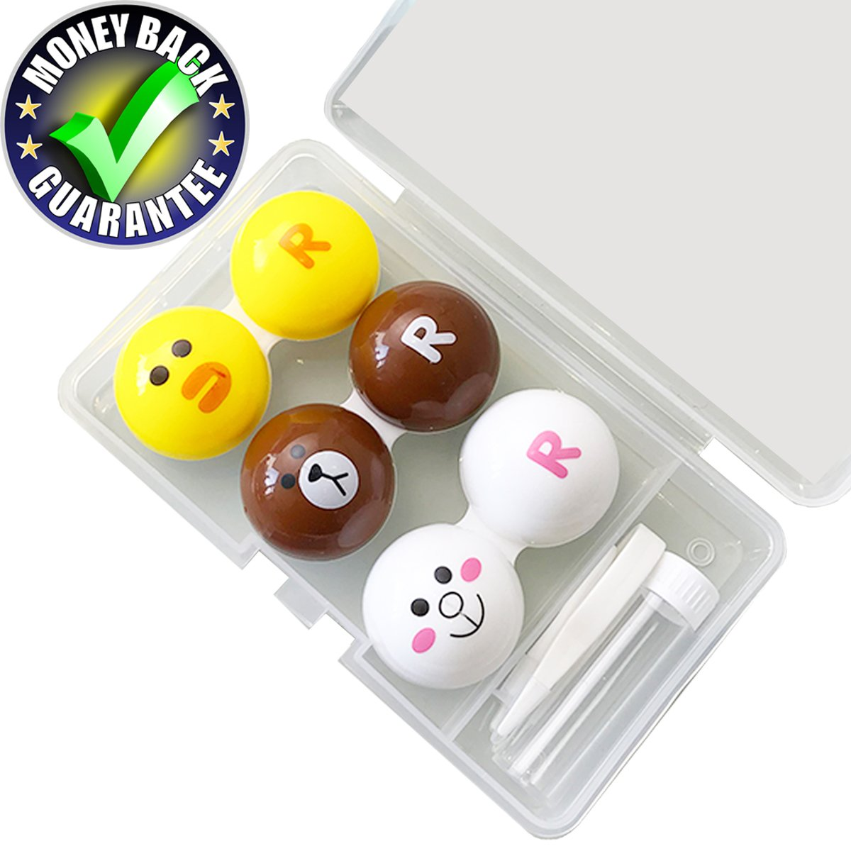 Contact Lens Case Cute Animal Contact Lens Case Shape Rabbit, Chick, Bear Left And Right Change Every Month Contact Lens Case 3-Pack No Leak Dust Proof With Care Solution Container, Twzeers, Outer Case Sunflower Innovative Store