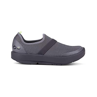 OOFOS Women's Fibre OOMG Low Shoe Black/Grey (7 M US, Black/Grey) | Walking
