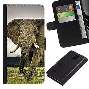 Billetera de Cuero Caso Titular de la tarjeta Carcasa Funda para Samsung Galaxy Note 4 SM-N910 / Cute Elephant Majestic Creature Animal / STRONG