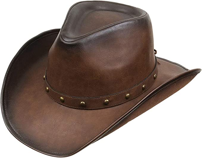 Kenny K Mens Distressed Faux Leather Western Hat with Faux Animal Teeth