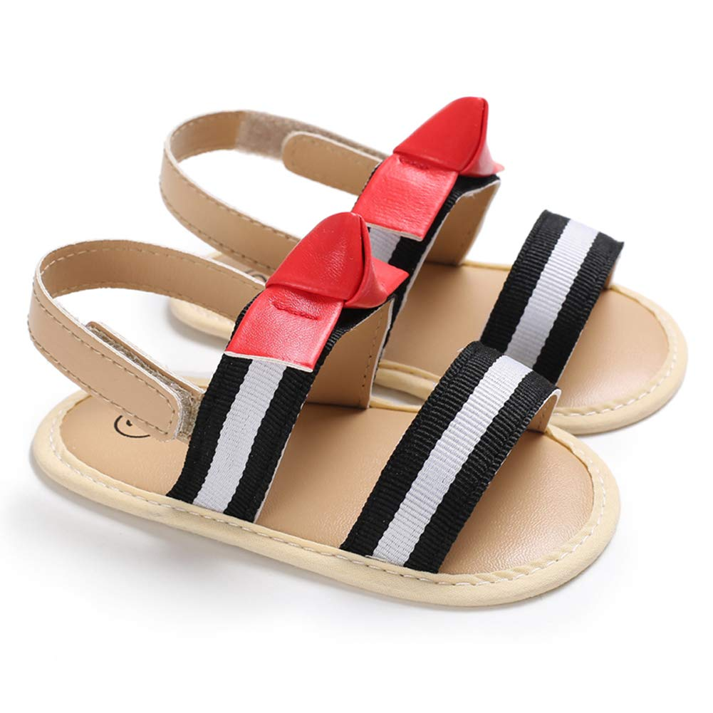 West Sweety Baby Girls Bow Knot Stripe Summer Shoes Soft Crib Shoes Sandal Velcro Sandals Rubber Sole