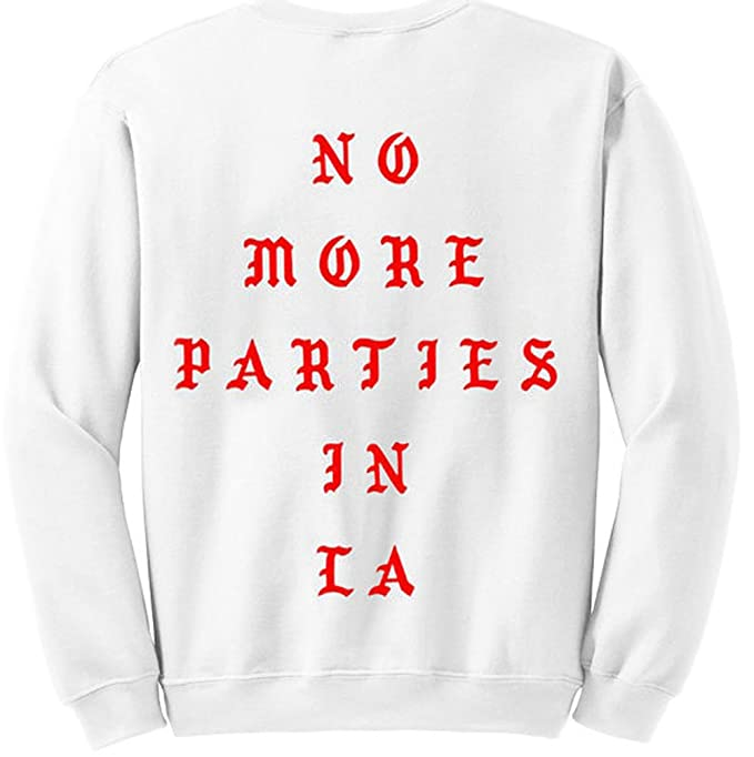 4fb8a44f No More Parties in LA Kanye West White Unisex Crew Neck Sweatshirt Pullover  Jumper Sweater (