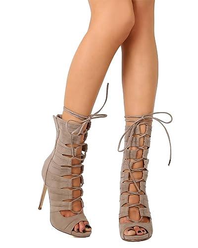 33194aba08f695 Liliana Women Suede Peep Toe Gilly Tie Stiletto Gladiator Bootie EG99 -  Taupe (Size: