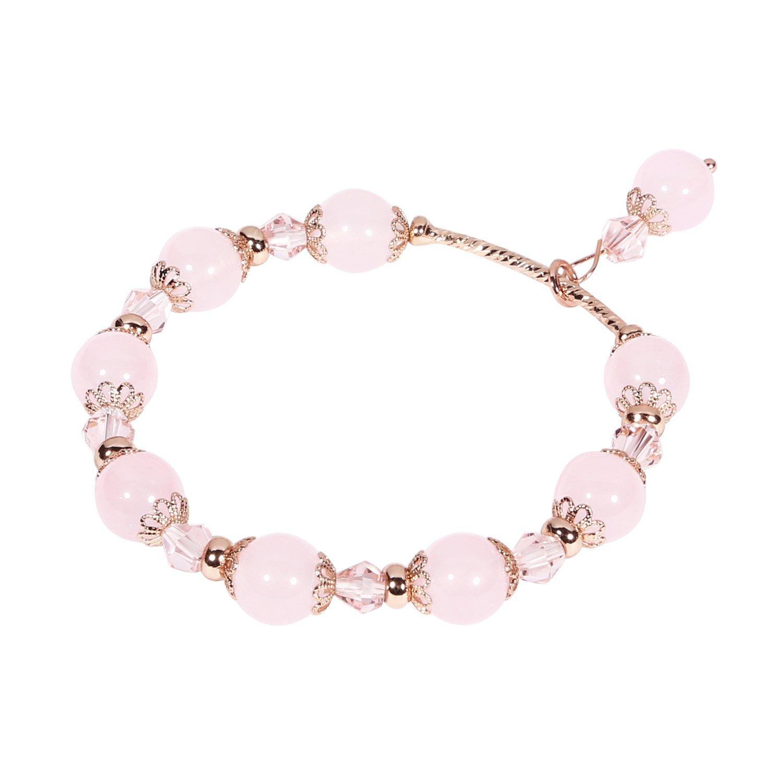 Tomazon Fashion Handmade Faux Pearl Beaded Crystals Stretch Elastic Wrap Around Wrist Bracelet Bangles for Women Girls (1 Row - Pink)