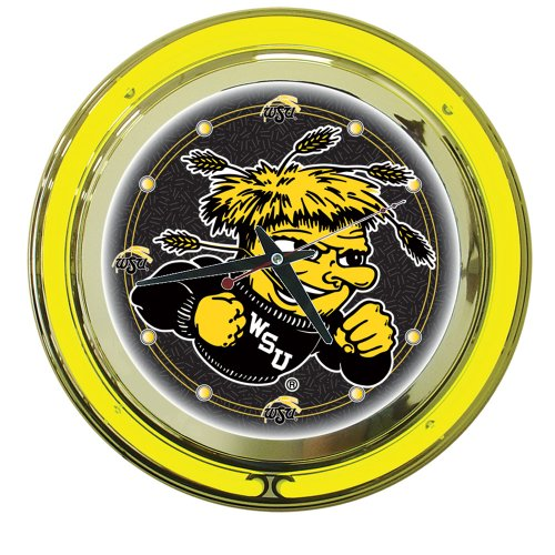 NCAA Wichita State University Chrome Double Ring Neon Clock, - Clock State Neon University