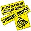 Zone Tech 3-Pieces of Student Driver Please Be Patient Vehicle Bumper Magnets -Student Driver,Student Driver Please Be Patient, and Please Be Patient Student Driver Bumper Safety Sign Magnet