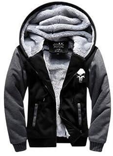 NiSeng Uomo Felpa con Cappuccio Inverno Caldo Vello Foderato Zip Up Giacca  con Cappuccio Morbido Cappotto 9e350f5ab37