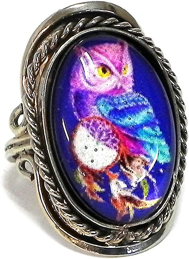 Mia Jewel Shop New Age Owl Graphic Oval Shaped Silver Rope Edge Adjustable Ring