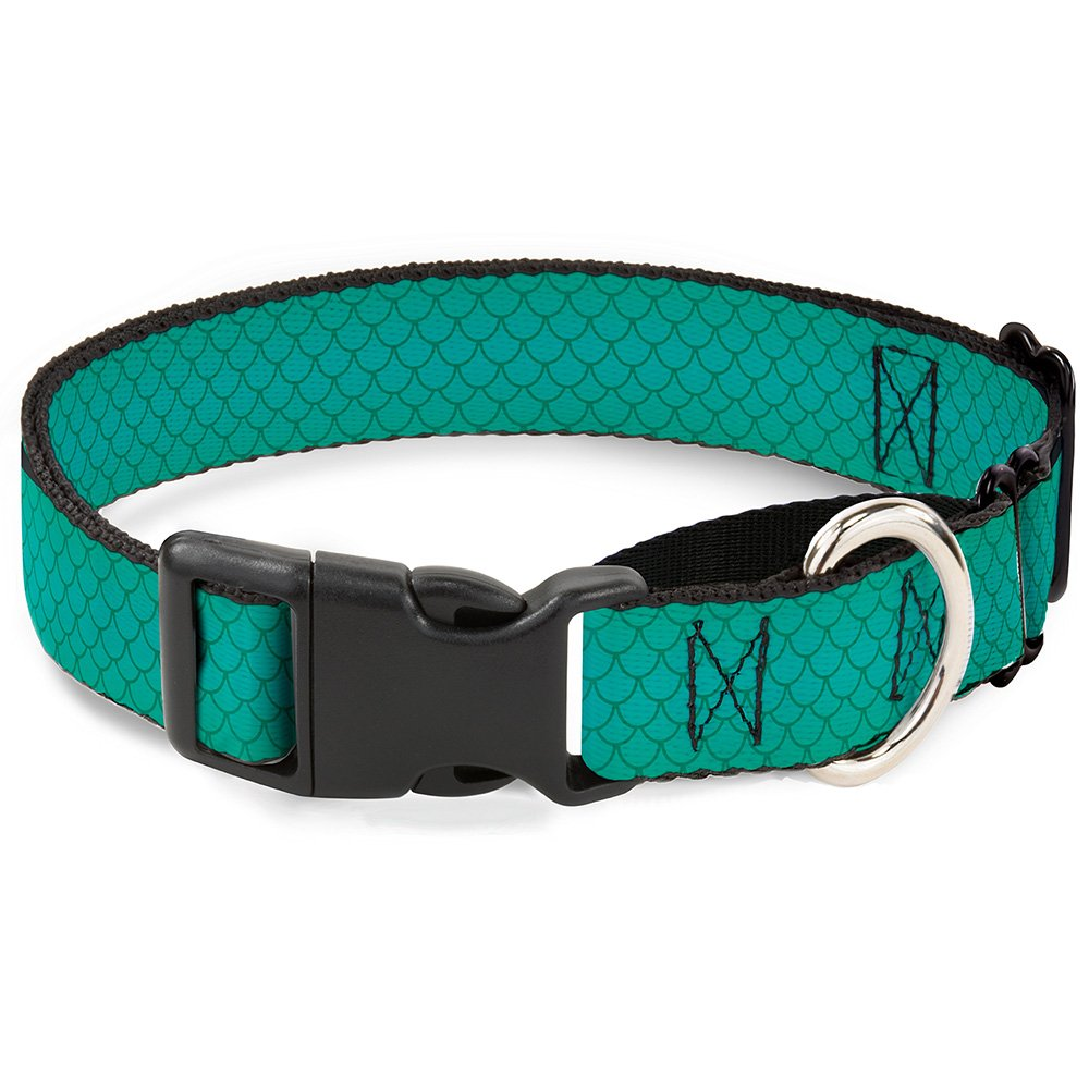 Buckle-Down Martingale Dog Collar Ariel's Scales Turquoise bluees 1  Wide Fits 15-26  Neck Size Large