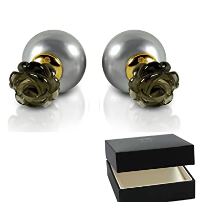 Doppel Perlenohrringe Blüten Gold (Silber 925 hochwertig vergoldet ...