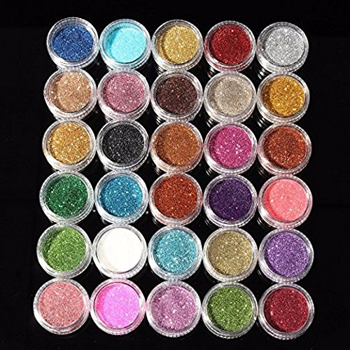 Eyeshadow&Nail Glitter 30Pcs/Set Colors Mixed Glitter Loose Powder Eyeshadow Eye Shadow Cosmetics Glitter Eyeshadow Palette (30 Colors) - Highly Pigmented, Shimmery - Waterproof & Long-Lasting