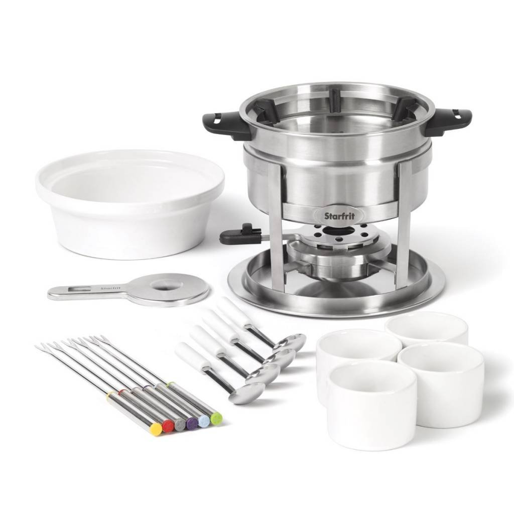Starfrit 20-Piece Fondue Party Set | Includes: 1.7 qt Fondue Pot, Ceramic Bowl, (4) Ramekins, (6) Forks, (4) Spoons And More