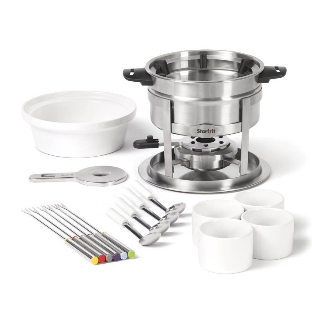 Starfrit 20-Piece Fondue Party Set | Includes: 1.7 qt Fondue Pot, Ceramic Bowl, (4) Ramekins, (6) Forks, (4) Spoons And More by Starfrit