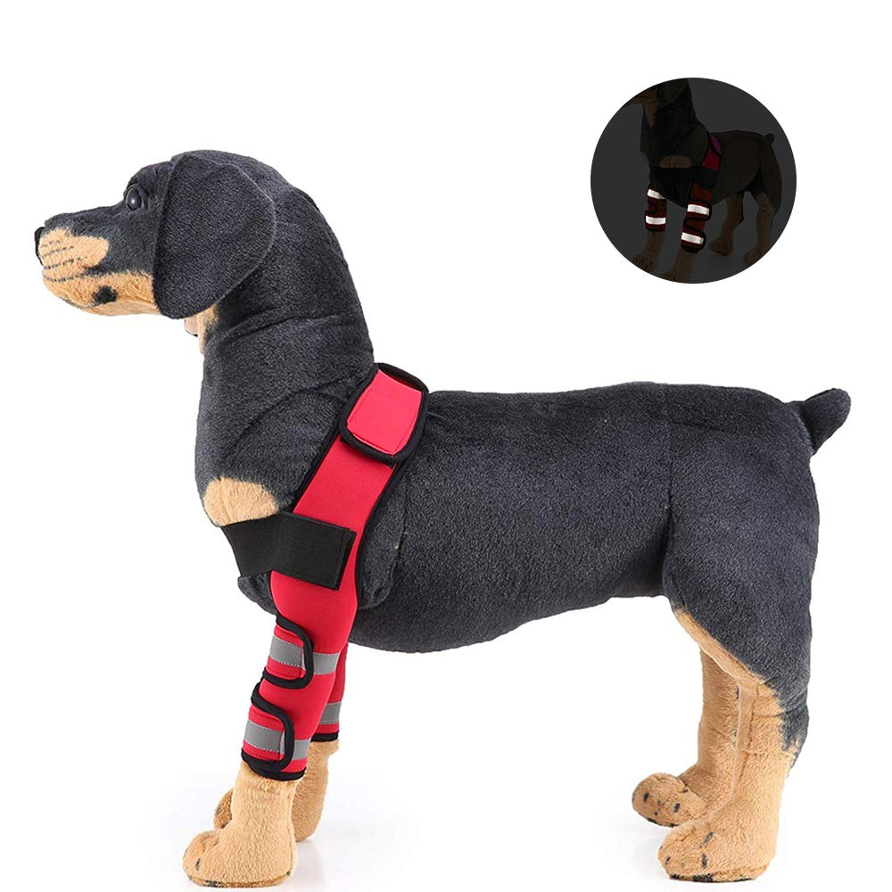 L Dog Recovery Sleeve Canine Front Leg Brace Elbow Predector Dog Hock Joint Wrap with Shoulder Strap Pet Injury Predective Cover (Reflective Tape),L