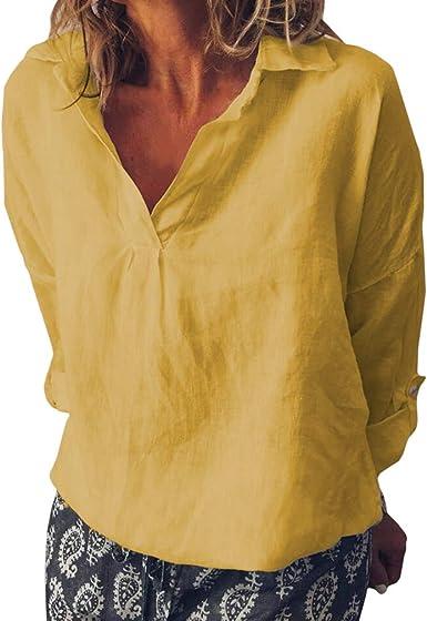 Mujer Suelto Camisa - Cuello En V Color Liso Blusa Moda Manga Larga Algodón y Lino Blusas de Oficina Verano Otoño Lightweight Shirt S-5XL: Amazon.es: Ropa y accesorios