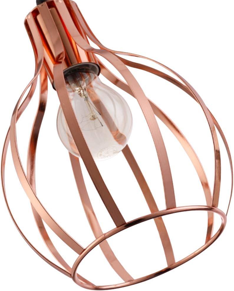 Retro Style Copper Metal Basket Cage Ceiling Pendant Light,3 Pack Kiven H-Type Track Lighting Pendant