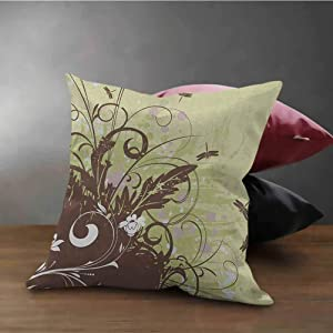 HouseLook Dragonfly Square Pillow Case Retro Style Flower with Grunge Effects in Vivid Tones Artsy Garden Image Pillow Cover for Living Room Khaki Brown Lilac (16