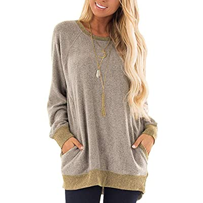 Womens Baggy Tops Pullover Shirts Comfy Sweatshirts Sweaters Color Block Blouses at Women's Clothing store