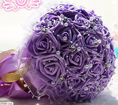 18 PCS Senior Handmade Custom Bride Holding Flower Bouquet Artificial Roses Luxury Diamond Pearl with Yellow Ribbons Wedding Gift (purple)