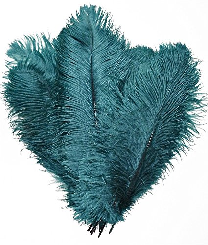 KOLIGHT 40pcs 12''~14''(30~35cm) Natural Ostrich Feathers for DIY Home Wedding Party Office Decoration (Teal) -