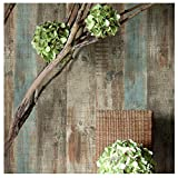 8106 Distressed Wood Panel Wallpaper Rolls, Rustic Blue/Brown Wood Plank Wallpaper Wall Mural Livingroom Bedroom Kitchen Bar Wall Decoration 20.8 in x 32.8 ft