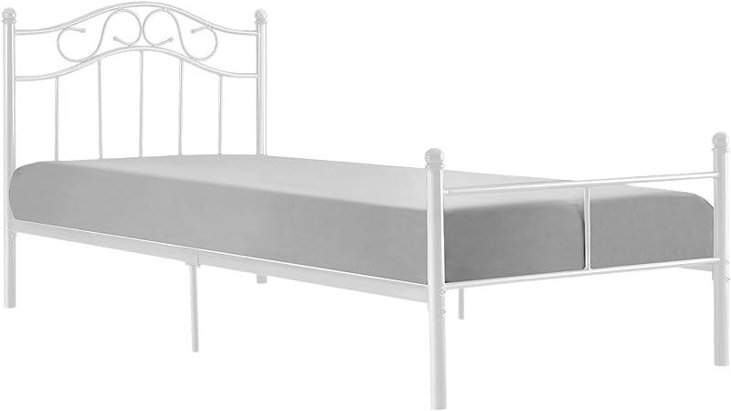 [en.casa] Cama de Metal 90x200 Blanca Armazón Cama ...