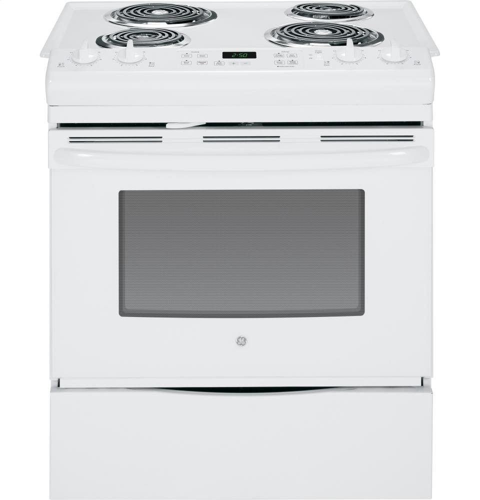 GE JS250DFWW 30' White Electric Slide-In Coil Range RANGES OVENS & COOKTOPS