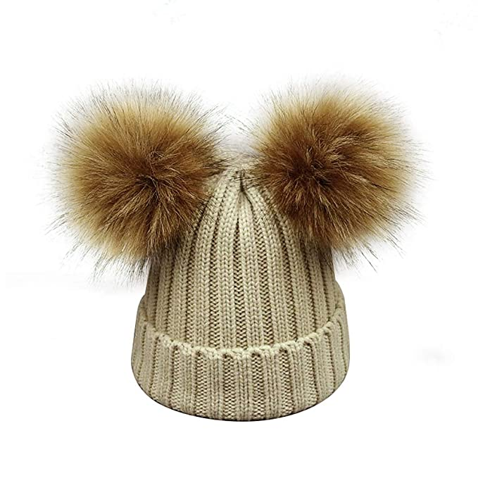 Kids Faux Raccoon Fur Ball Pompom Ears Winter Bobble Hat Knitted Double Pom  Cap Kids Beanie 359c98e3ec0