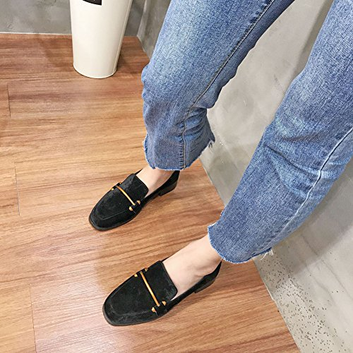 Btrada Womens Classic Slip On Penny Loafers Square Toe Moccasins Driving Shoes Fur Suede Casual Shoes Black Ru55l2FH6