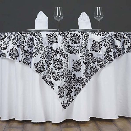 Tableclothsfactory Black Damask Flocking Table Overlay 60''x60'' (Table Toppers)--PACK OF 5