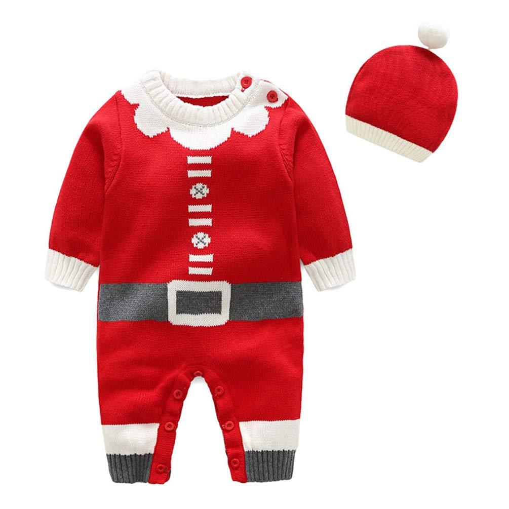 Dooxii Bambini Ragazzi Ragazze Costume di Natale Set Pagliaccetto Tuta + Cappello 2 Pezzi Sets Jumpsuit Bambino Inverno Autunno Pigiama