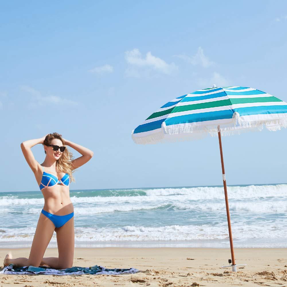 Azzurro 180 BAKAJI Ombrellone da Mare Spiaggia Giardino 180 cm con Palo in Acciaio Effetto Legno Rivestimento Tessuto Anti UV con Tracolla e Custodia