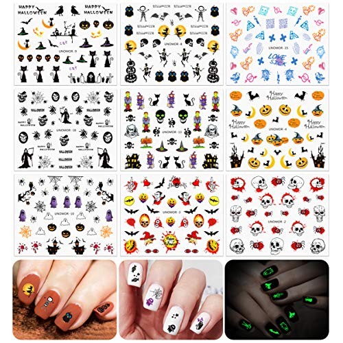 Halloween Nails Decals Stickers, Multi-color Mixed Styles Ghost Nail Art Decals - 30 ()