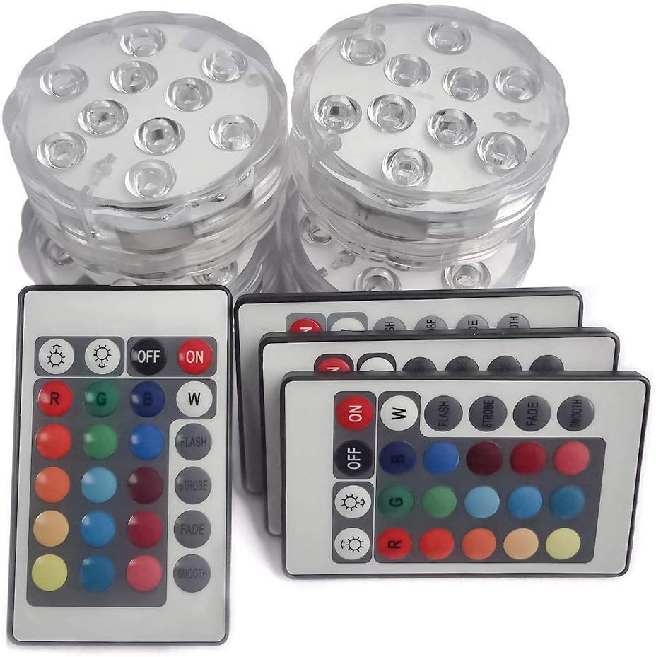 Remote Control Submersible LED Light With Battery Christmas Wedding New Year