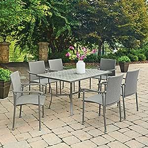 Home styles Umbria Concrete Tile 7piezas Juego de comedor para exteriores rectangular