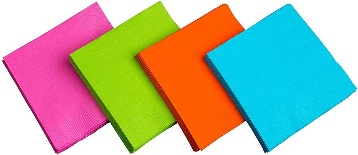 "Party Essentials 2-Ply Square Beverage Napkins, 9-7/8"" x 9-7/8"", Assorted Neon (Pack of 576)"
