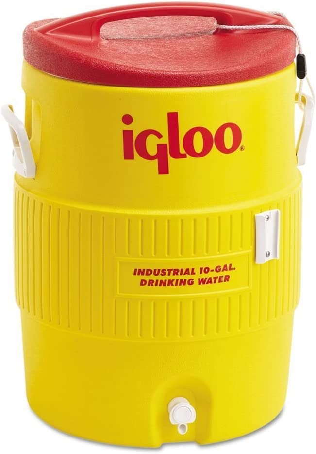 Igloo Industrial Beverage Cooler, 10 gallon, Yellow/Red/White by Igloo Products Corp.