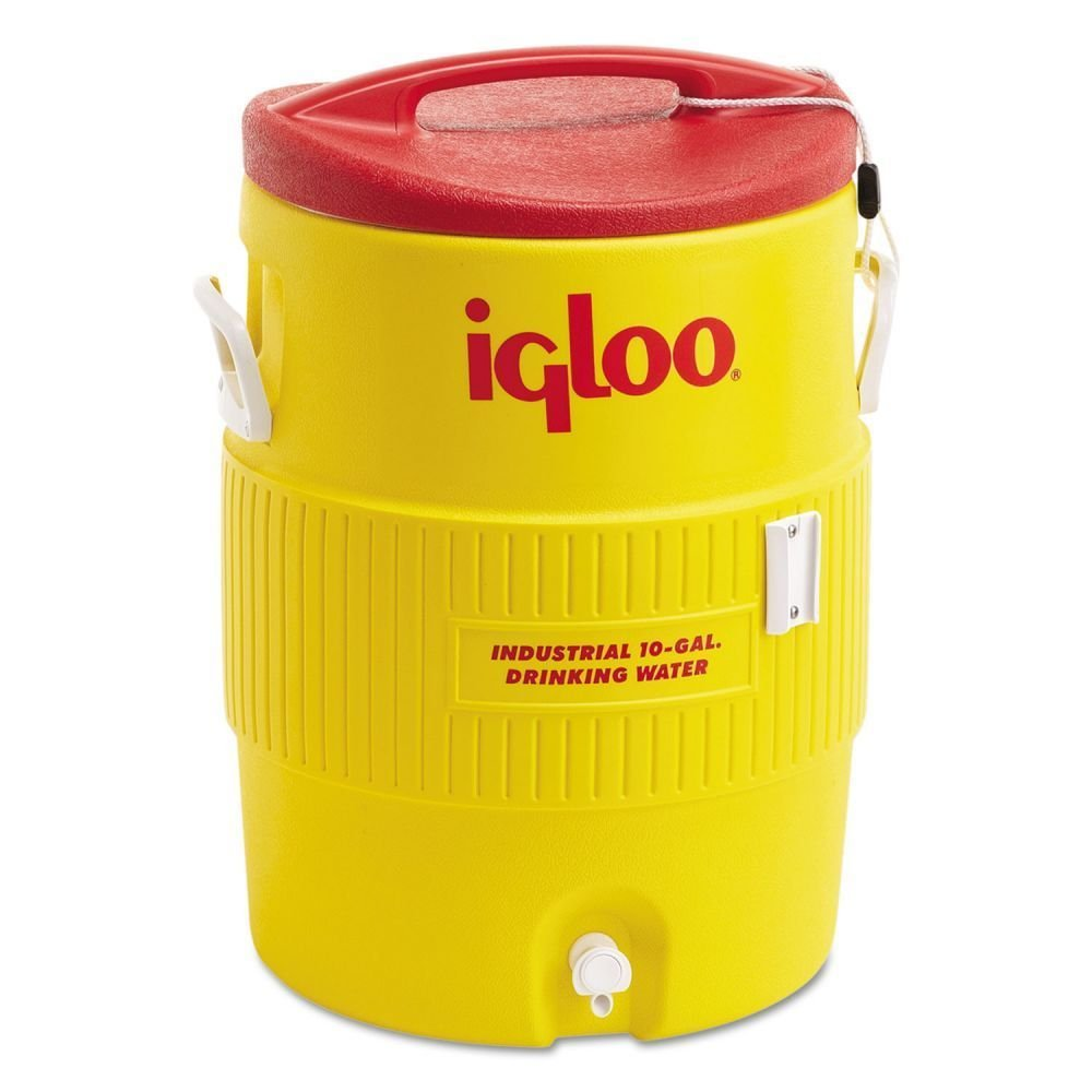 Igloo Industrial Beverage Cooler, 10 gallon, Yellow Red White