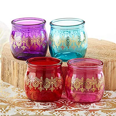 Kate Aspen 27181NA Indian Jewel Henna Tea Light, Assorted Set of 4 Tealight Holder Set One Size Red, Purple, Teal with gold
