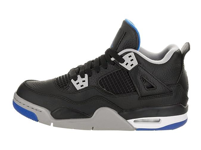 super popular 4b5c6 f44c9 Amazon.com   NIKE Air Jordan 4 Retro BG Motorsports Alternate Big Kid s  Basketball Shoes Black Soar Matte Silver, 5   Fashion Sneakers