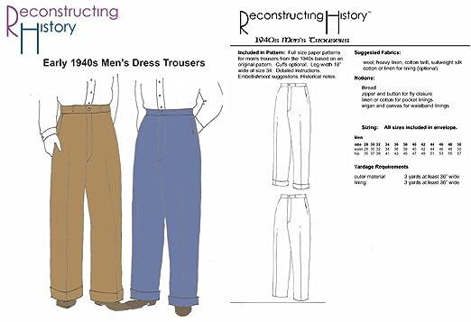 1940's Men's Dress Trousers Pattern