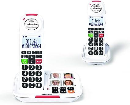 Swissvoice Xtra 2155 Duo Schnurloses teléfono para Personas Mayores Manos Libres, Foto-Tasten, contestador automático (Voz/versión Alemana), Op: Amazon.es: Electrónica