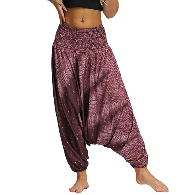 Nuofengkudu Mujer Pantalones Hippies Baggy Yoga Pants Playa
