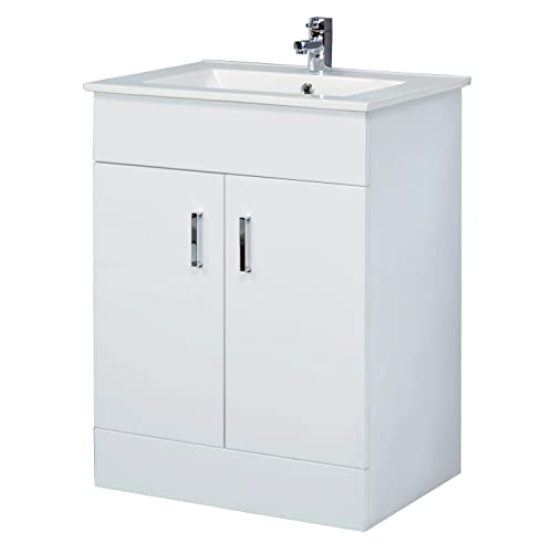 Home Standard® Ice Cube White Gloss 600mm Bathroom Floorstanding Vanity Unit & Minimalist Basin